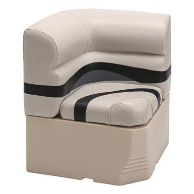 "Wise Premier Pontoon 25"" Radius Corner Section Seat, Color A - Platinum Punch / Navy / Cobalt"