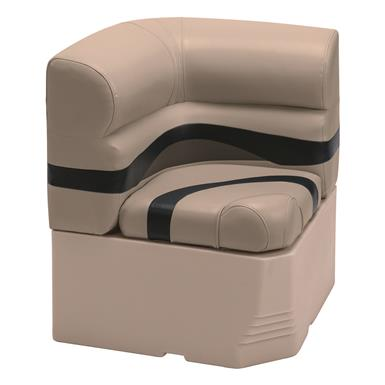 "Wise Premier Pontoon 25"" Radius Corner Section Seat, Color D - Mocha Java Punch / Round Midnight / Rock Salt"