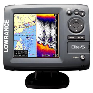 Lowrance® Elite-5 Gold Fishfinder & GPS Chartplotter with 83 / 200 kHz Transducer and Navionics® Map Bundle