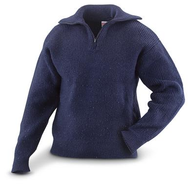 Used Italian Military Surplus Sweater, Navy