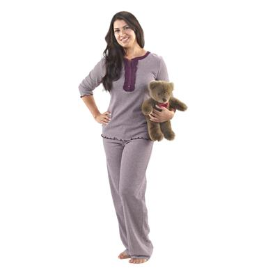 Women's Guide Gear® Striped Pajama Set with Sleep Mask, Eggplant