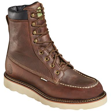 "Men's 8"" Waterproof Breathable Wood 'N' Stream™ Flyway Moc Wedge Boots, Light Brown / Creme Wedge"