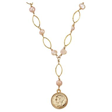 Gold-layered Mercury Dime Pearl Necklace from American Coin Treasures