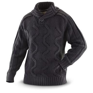 Weatherproof® Vintage Chunky Shawl-neck Cable Sweater, Black