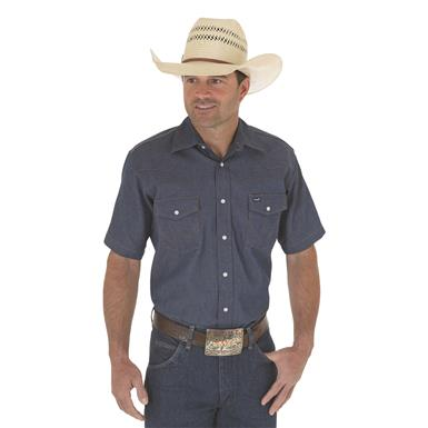 Wrangler Men's Cowboy Cut Firm Finish Short Sleeve Western Snap Shirt, Blue Indigo