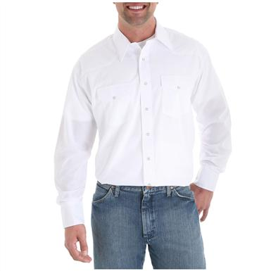 Men's Wrangler® Western Long-sleeved Broadcloth Shirt, White
