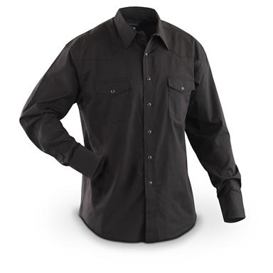 Men's Wrangler Western Long-sleeved Broadcloth Shirt, Black