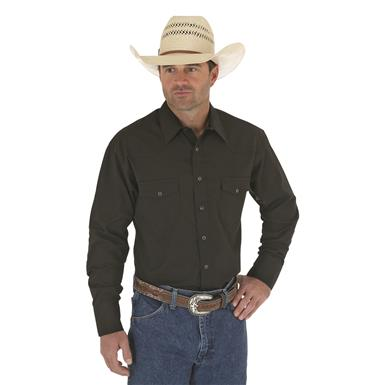 Wrangler Sport Western Snap Long-sleeved Shirt, Black