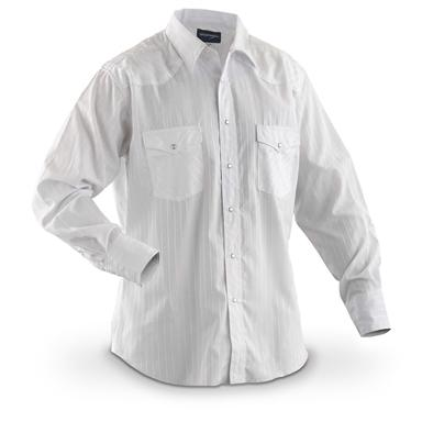 Wrangler Men's Western Long-sleeved Dobby Stripe Shirt, White