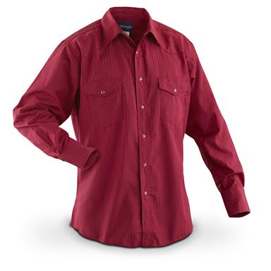 Wrangler Men's Western Long-sleeved Dobby Stripe Shirt, Red