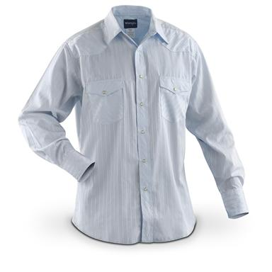 Men's Wrangler® Western Long-sleeved Dobby Stripe Shirt, Blue