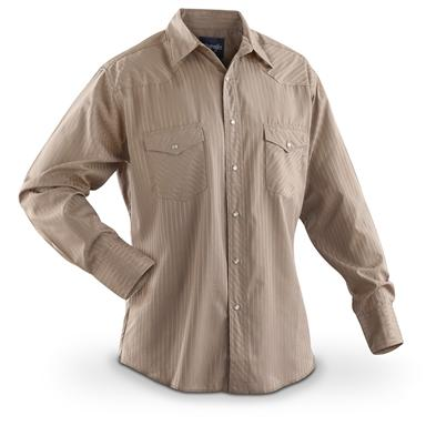 Men's Wrangler® Western Long-sleeved Dobby Stripe Shirt, Tan