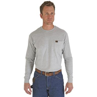 Men's Wrangler® RIGGS Workwear® Long-sleeved Pocket T-shirt, Ash Heather