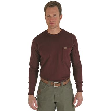 Men's Wrangler® RIGGS Workwear® Long-sleeved Pocket T-shirt, Burgundy