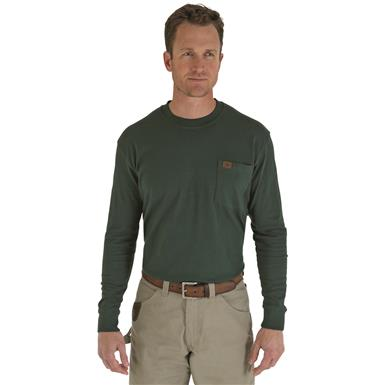 Men's Wrangler® RIGGS Workwear® Long-sleeved Pocket T-shirt, Forest Green