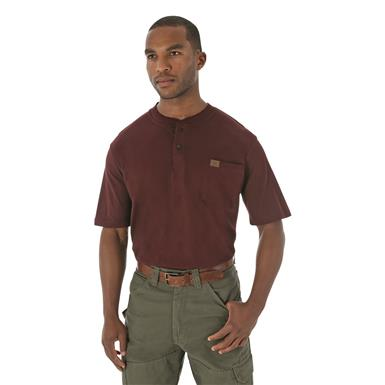 Men's Riggs Workwear® by Wrangler® Short-sleeved Henley T-shirt, Burgundy