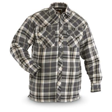 Canyon Guide® Western Quilt Flannel Shirt Jacket, Charcoal Plaid