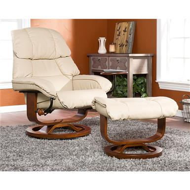 Canyon Lake Leather Recliner and Ottoman, Taupe