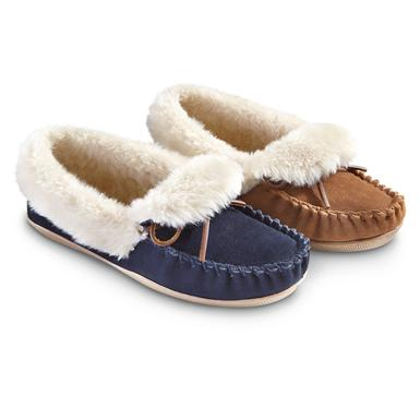 Women's Guide Gear Rolled Collar Slippers • Navy or Tan