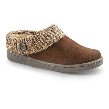 Guide Gear Women's Suede Clog Slippers with Sweater Button Collar, Brown