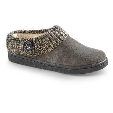 Guide Gear Women's Suede Clog Slippers with Sweater Button Collar, Gray