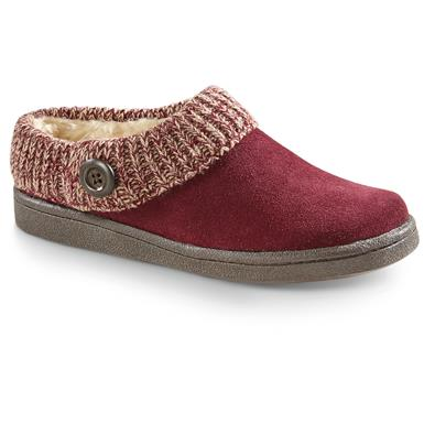 Guide Gear Women's Suede Clog Slippers with Sweater Button Collar, Burgundy
