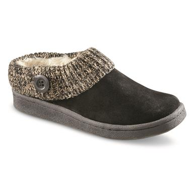 Guide Gear Women's Suede Clog Slippers with Sweater Button Collar, Black