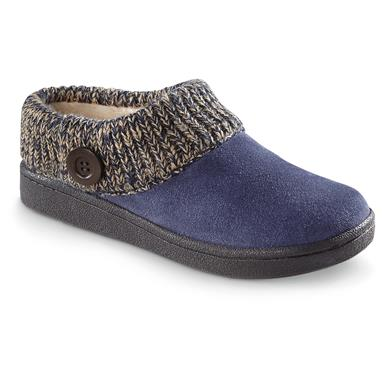 Guide Gear Women's Suede Clog Slippers with Sweater Button Collar, Blueberry
