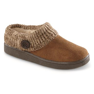 Guide Gear Women's Suede Clog Slippers with Sweater Button Collar, Nutmeg