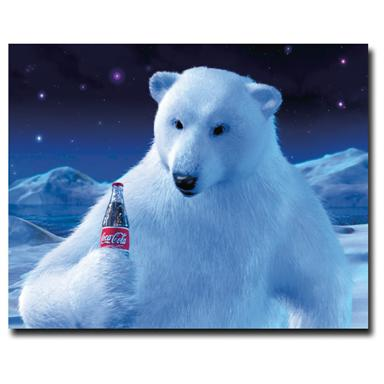 """Coke Polar Bear with Coke Bottle"" Canvas Art"