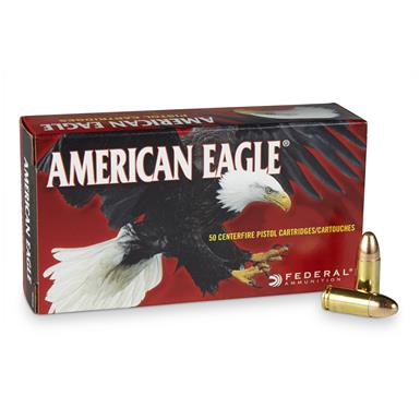 Federal American Eagle, 9mm Luger, FMJ, 115 Grain, 50 Rounds