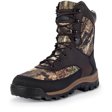 Uppers are full-grain leather and 900-denier high abrasion nylon with Rocky waterproofing, Mossy Oak Break-Up Infinity®