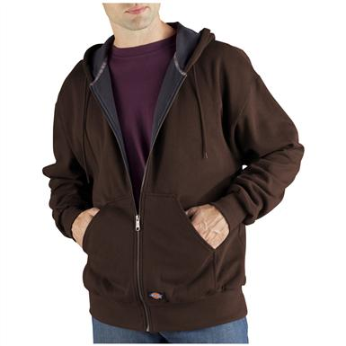 Dickies® Thermal-lined Hooded Fleece Work Jacket, Dark Brown