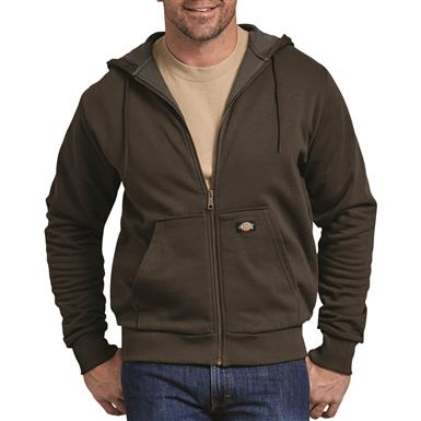 Dickies Men's Thermal Lined Fleece Hoodie, Dark Brown