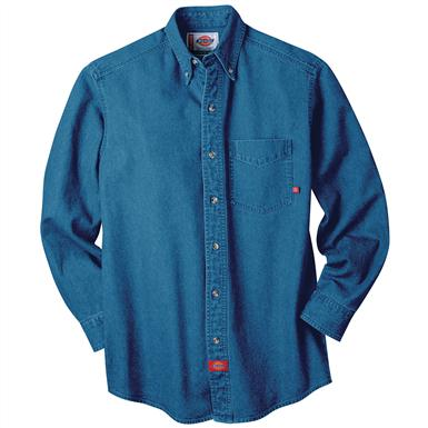 Dickies® Long-sleeve Denim Work Shirt, Stonewashed Indigo