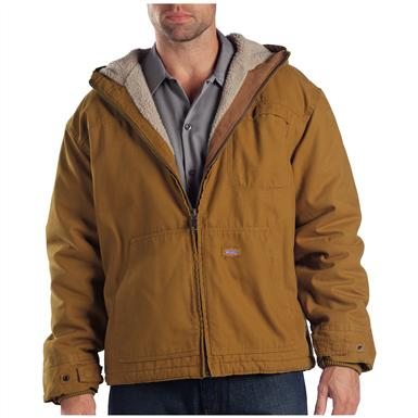 Dickies Sanded Duck Sherpa-Lined Hooded Work Jacket, Brown Duck