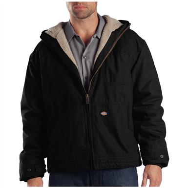Dickies Sanded Duck Sherpa-Lined Hooded Work Jacket, Black
