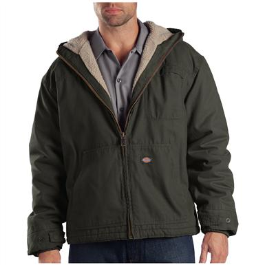 Dickies Sanded Duck Sherpa-Lined Hooded Work Jacket, Black Olive