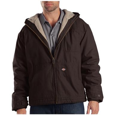 Dickies Sanded Duck Sherpa-Lined Hooded Work Jacket, Chocolate Brown
