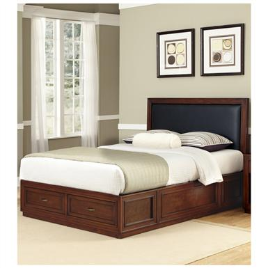 Duet Queen Platform Panel Bed, Black Leather Inset