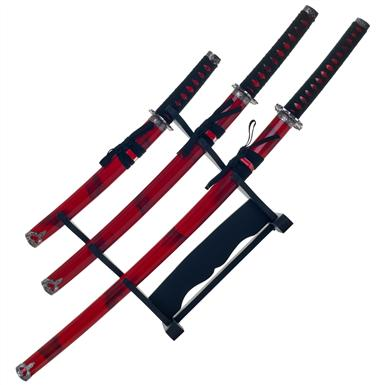 Marble Red Katana Super Set of 3 Swords