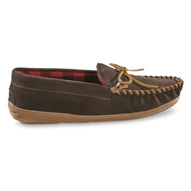 Guide Gear Men's Leather Trapper Moccasins, Rootbeer