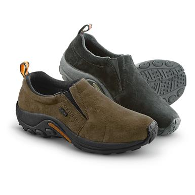 Merrell Men's Jungle Moc Waterproof Slip-On Shoes • Black / Gunsmoke