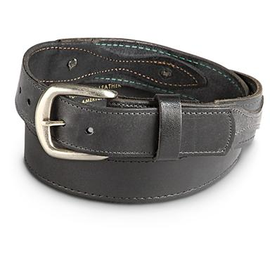 "Guide Gear Men's Ranger 1.5"" Leather Belt, Black"