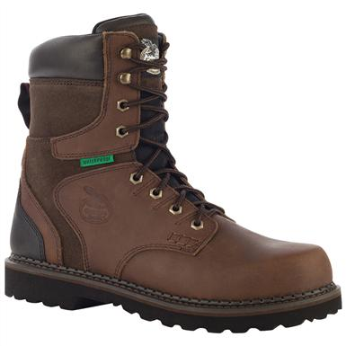 "Georgia Boot Men's Brookville 8"" Steel Toe Waterproof Work Boots, Dark Brown"