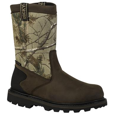 Rocky® 8 inch Core Waterproof Pull-On Boots, Brown / Realtree® AP™
