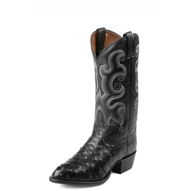 Tony Lama Men's Full Quill Ostrich Western Boots, Black