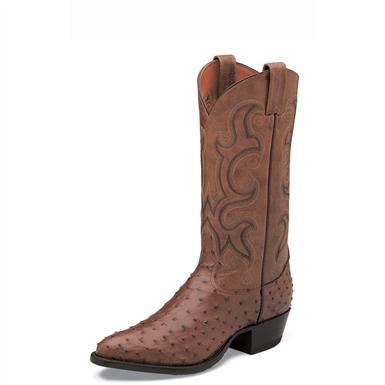Tony Lama Men's Full Quill Ostrich Western Boots, Coffee