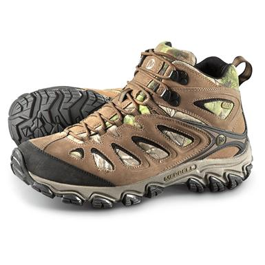 Merrell Men's Pulsate Mid Waterproof Hiking Boots, Realtree Xtra Green