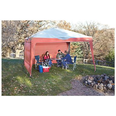 Famous Maker 12 Foot X Pop Up Canopy With 2 Side Wall Screens